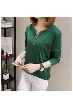 Button Down Three-Quarter Sleeve Top #activewear