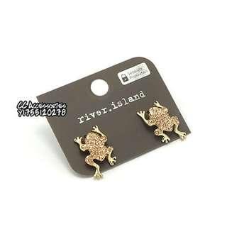 英國 River Island 玫瑰金水鑽小青蛙造型耳針耳環
