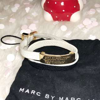 MARC BY MARC JACOBS Standard Supply Double Wrap Leather Bracelet (White)