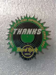 Hard Rock Cafe Pins - LAS VEGAS HOTEL HOT 2015 THANKS TEAM MEMBERS BLACK VINYL RECORD PIN!