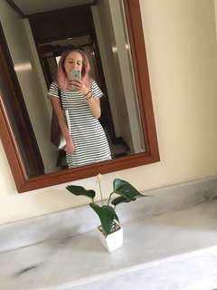 Showpo Black and White Horizontal Stripe T-Shirt Dress