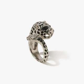 Forever 21 可愛帥氣銀色水鑽美洲獵豹戒指