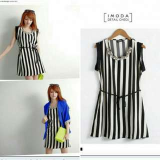 Korean Stripe Dress with Necklace + Belt