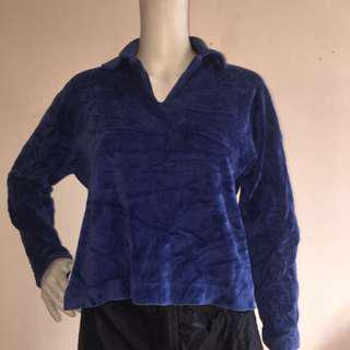 SAWACO blue fleece pullover sweatshirt small
