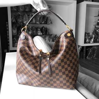 Authentic Louis Vuitton Damier Ebene Duomo Hobo N41861 LV