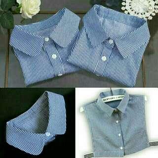🚚 藍白條紋圓領尖領襯衫假領子衣領