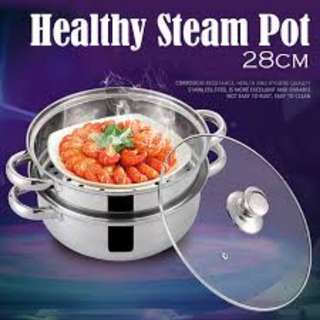 Good Quality Soup Steam Boil Pot 28-cm High Quality Stainless Steel Pot Steamboat Healthy Cooking 2 layers thick stainless steel