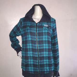 BILLABONG green checkered hooded sweatshirt with zipper pullover xlarge
