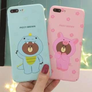 手機殼IPhone6/7/8/plus/X : Linefriends情侶款小熊全包邊磨砂硬殼
