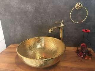 Gold colour bathroom basin+mixer set