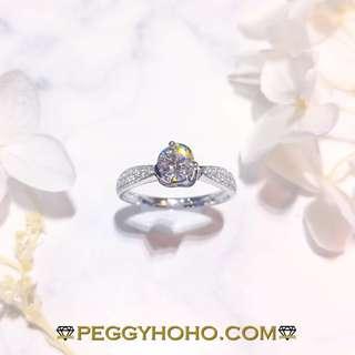 【Peggyhoho】全新18K白金((單粒GIA證書53份))真鑽石配小鑽共65份戒指| GIA證書 | E色VS2 HK13號