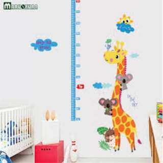 Giraffe Animal Cartoon Measuring Height Stickers Removable Wallpaper for Kids Room
