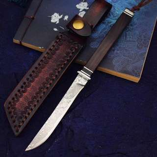 20cm VG10 Damascus Collection Knife VG10手工锻打收藏刀#496