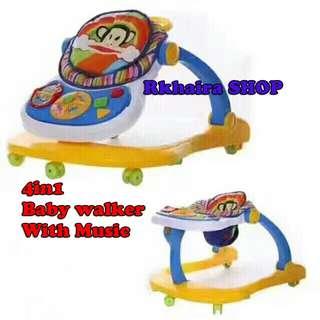 4 in 1 Baby Walker Stroller   Alat Bantu Balita Anda Belajar Berjalan