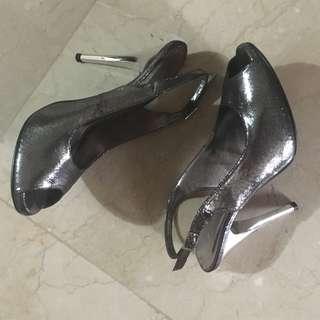 Silver Peep-toe Slingback Formal Heels