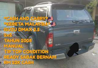 *CASH AND CARRY*🇲🇾 *KERETA HALAL*🇲🇾 ISUZU DMAX 2.5 2x2 TAHUN 2008 MANUAL TIP TOP CONDITION READY SABAK BERNAM