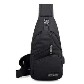 Tas sling Bag USB Cross body pack Selempang Slempang chest bahu canvas - Hitam
