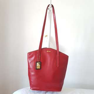 Original HIDESIGN Leather Bucket Bag Red