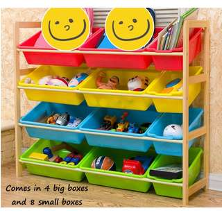 🚚 Children colorful wooden toy rack Natural wood material