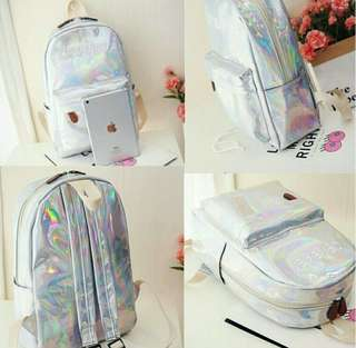 Hologram holographic laser silver backpack