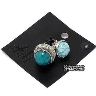 H&M 藍綠色裂紋松石套戒組 (M號)