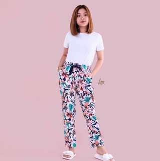 Floral Print Pocket Trouser Pants with tie