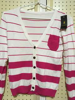 J. S. N. H. pink and white cardigan