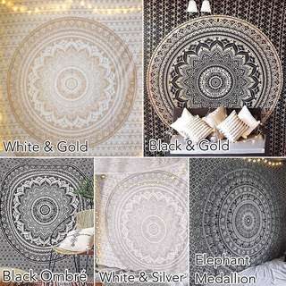 Black and White QUEEN SIZE Mandala Tapestry Instock