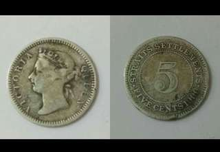 💥💥 Straits Queen Victoria 5cent 1900.