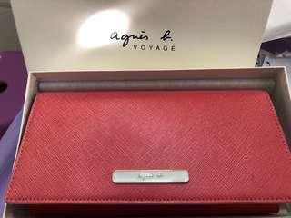 Agnes b桃粉色長款銀包