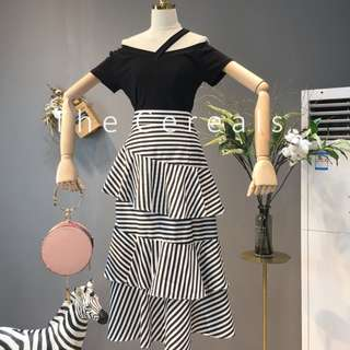 TC2490 Korea 2 Pieces Top + Layer Stripe Skirt (Black,Red)
