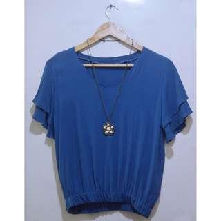 Blue Hem Top