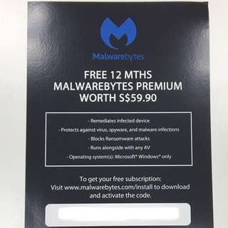 (BN) Malwarebytes Premium (1 year subscription)