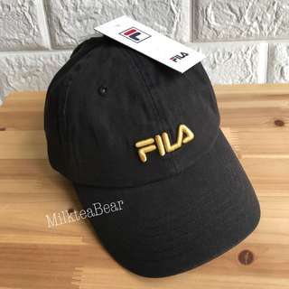 ⚠️特價⚠️Fila 刺繡 Cap HAT 黑金🇺🇸美國直送 (現貨)