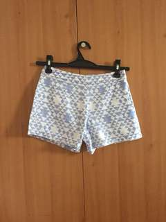 Patterned Blue & White Tailored Shorts