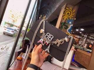 Balenciaga BB Round M Jacquard Shoulder Bag 25cm