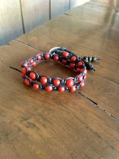 Gelang tali batu pyrus merah