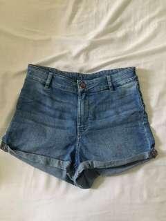 H&M High waisted denim blue shorts