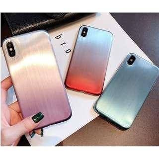 ^手機殼IPhone6/7/8/plus/X : 漸變色拉絲紋全包邊軟殼