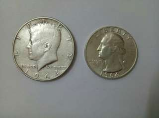 💥💥 US Kennedy Half Dollar and Quarter Dollar Silver.