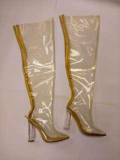 Repriced Yeezy Style Clear Arcrylic Lucite Thigh Boots