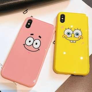 ^手機殼IPhone6/7/8/plus/X : 韓國可愛海綿寶寶/海大星大臉全包邊玻璃背板殼