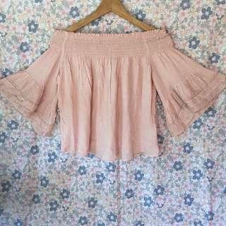 BERSHKA blush pink off shoulder