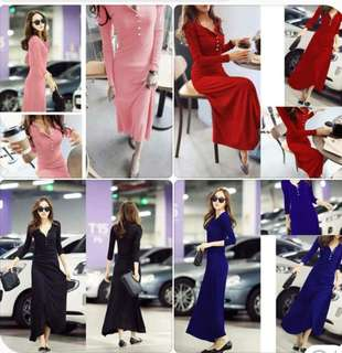 Korean maxidress spandex fabric, free size, stretchable
