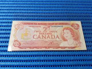 1974 Canada $2 Two Dollars Note UK 9024695 Dollar Banknote Currency