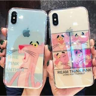 ^手機殼IPhone6/7/8/plus/X : 粉紅豹藍光全包邊透明軟殼