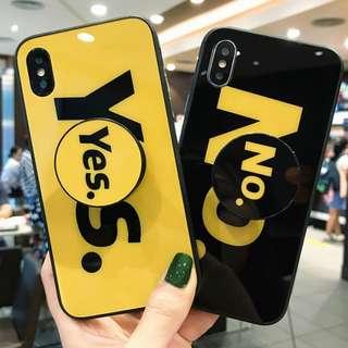 """^手機殼IPhone6/7/8/plus/X : 個性英文""""yes/no""""配氣囊支架全包黑邊玻璃背板殼"""