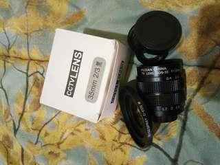Lensa bokeh fujian 35mm canon eos M adapter
