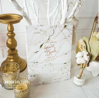 Wedding Guest book marble porcelain