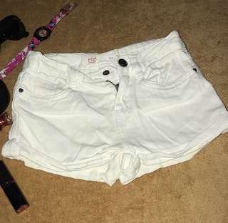FOX white denim shorts